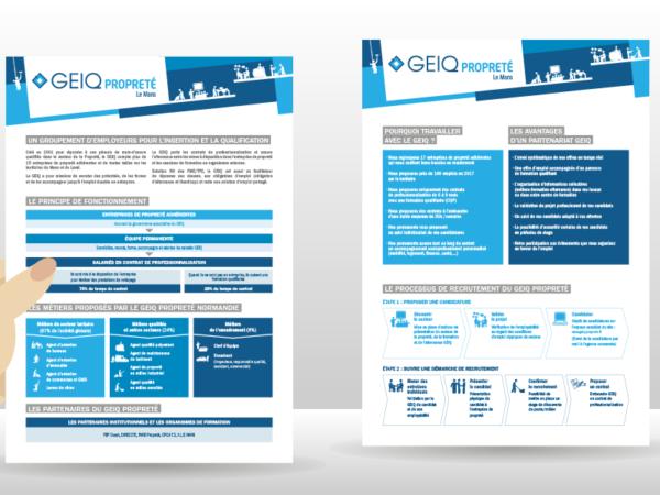 Création du logo et conception d'une fiche pour le GEIQ propreté Le Mans